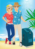 Man and woman on the beach. Summer. Sea. Vacation. Royalty Free Stock Image