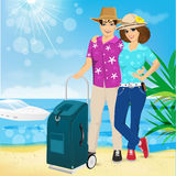 Man and woman on the beach. Summer. Sea. Vacation. Royalty Free Stock Images