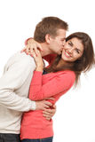 Man and woman. Beautiful young couple embracing and laughing Royalty Free Stock Image