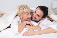 Man and woman in bed. Royalty Free Stock Photo