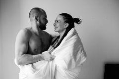 Man and woman in the bedroom Royalty Free Stock Photos