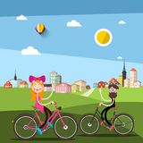 Man and Woman on Bicycle with City Park. On Background vector illustration