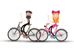 Man and Woman on Bicycle. Waving People on Bikes. Man and Woman on Bicycle. Waving People on Bikes Vector Illustration vector illustration