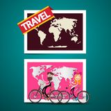 Man and Woman on Bicycles with World Map. On Background. Vector Traveling Design vector illustration