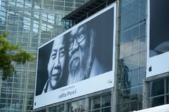 Man Beside Woman Billboard Stock Image