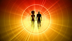 Man and woman black silhouettes. Blurred sun rays from silhouettes Royalty Free Stock Photos