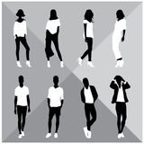 Man and Woman Black Silhouettes. Eight silhouettes of both sexes Stock Photos