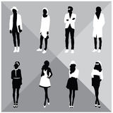 Man and Woman Black Silhouettes. Eight silhouettes of both sexes Stock Photography