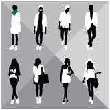 Man and Woman Black Silhouettes. Eight silhouettes of both sexes Stock Images