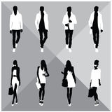 Man and Woman Black Silhouettes. Eight silhouettes of both sexes royalty free illustration