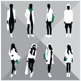 Man and Woman Black Silhouettes. Eight silhouettes of both sexes Royalty Free Stock Photos