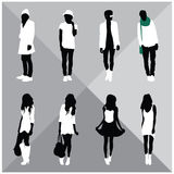 Man and Woman Black Silhouettes. Eight silhouettes of both sexes Royalty Free Stock Image