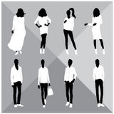 Man and Woman Black Silhouettes. Eight silhouettes of both sexes Royalty Free Stock Photo
