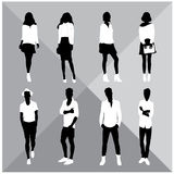 Man and Woman Black Silhouettes. Eight silhouettes of both sexes Royalty Free Stock Photography