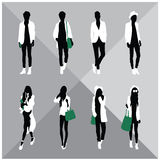 Man and Woman Black Silhouettes. Eight silhouettes of both sexes stock illustration