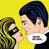 Man and woman in black superhero mask love couple in vintage pop art comic style stock illustration