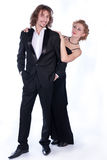 Man and woman in a black and white clothes Royalty Free Stock Images