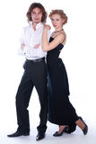 Man and woman in a black and white clothes Stock Photo