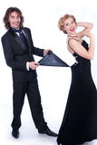 Man and woman in a black and white clothes Stock Images