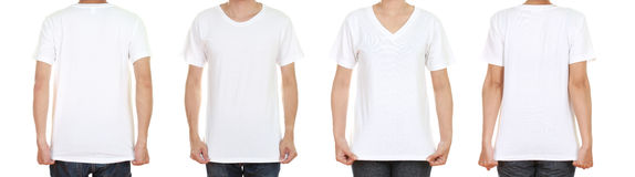 Man and woman with blank black t-shirt. Isolated on white background Royalty Free Stock Image
