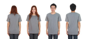 Man and woman with blank black t-shirt Royalty Free Stock Image