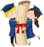 Man and woman in blue graduation gowns Stock Image