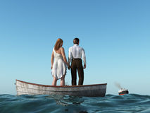 Man and woman in a boat stock illustration