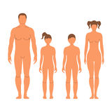 Man, woman, boy and girl. Human front side Silhouette. Isolated. On White Background. Vector illustration Stock Image