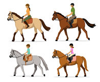 Man, Woman, Boy, Girl riding horses Vector Illustration Set, isolated. Stock Image