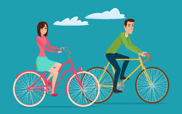 Man and woman, boy and girl riding sport bikes. Family outdoor Royalty Free Stock Photography
