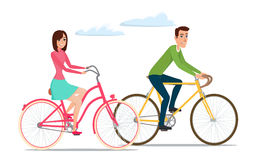 Man and woman, boy and girl riding sport bikes. Family outdoor Stock Images
