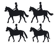 Man woman boy and girl silhouettes riding horses. Family, Couple and chirdren horseback training vector illustration vector illustration