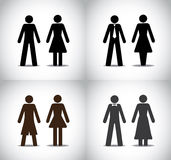 Man woman or boy girl standing symbols concept. Well dressed man woman or boy girl standing concept symbols set. different black colorful simple male and female Royalty Free Stock Photography