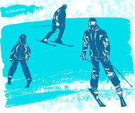 Man, woman and boy skiers silhouettes Set. Royalty Free Stock Images