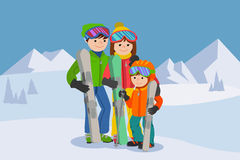 Man, woman, boy, skiing in snow mountain. Family winter sport vector illustration. Royalty Free Stock Images