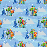 Man, woman, boy, skiing in snow mountain. Family winter sport vector illustration. Seamless pattern. Royalty Free Stock Images