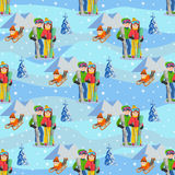 Man, woman, boy, skiing in snow mountain. Family winter sport vector illustration. Seamless pattern. Stock Images