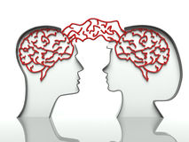 Man and woman brains, concept of communication Stock Photography