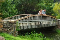Man and Woman on a Bridge Royalty Free Stock Photography