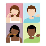 Man and woman brush their teeth. Vector illustration of man and woman brush their teeth Stock Illustration