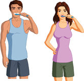 Man and woman brushing their teeth. Vector cartoon illustration of a young man and woman brushing their teeth with a white background Royalty Free Stock Image