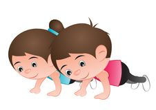 Man and woman Bubble big head cartoon push up for healthy and go. Od shape,exercise, illustration Stock Photography