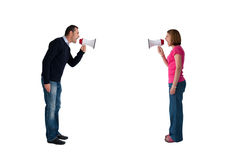 Man and woman bullhorn isolated Stock Images