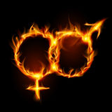 Man and woman burning symbol. Illustration on black background Stock Images