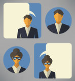 Man and woman business avatars Stock Photo
