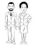 Man and woman business colleagues outline. Vector illustration eps 10 Royalty Free Stock Images