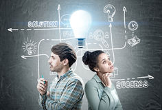 Man and woman with business idea stock photo