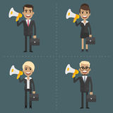 Man and woman business people holding megaphone Stock Photo