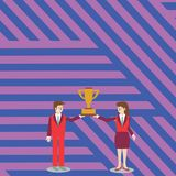 Man and Woman in Business Suit Holding Together the Championship Winners Trophy Cup Between them. Creative Background stock illustration