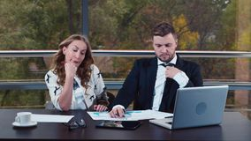 Man and woman in business suits are upset. HD video stock video